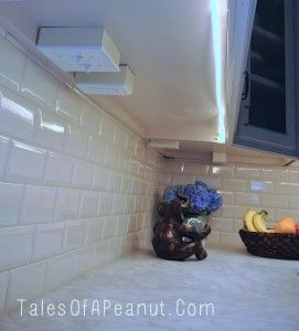 Kitchen Hidden Plugs:  Hide plugs under the cabinets so that they don't show in the wall.  Also LED lights under the cabinets:  low energy use and don't get hot!