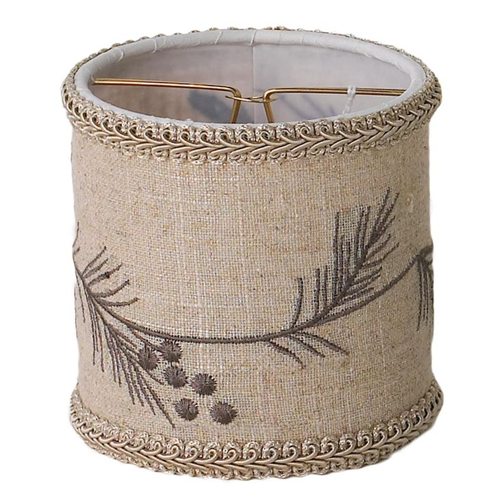 Pine Bough Linen Drum Chandelier Shade Top X Bottom Side Candle Clip Burlap Embroidered With Silver And Green Boughs For A Rustic