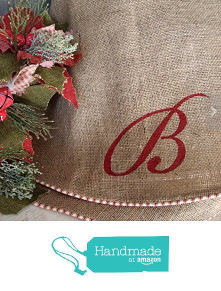 "Oversize Burlap Christmas Tree Skirt with Red and White French Ticking, Large Burlap Tree Skirt, Rustic Christmas Tree Skirt, Country, Farmhouse, Modern Holiday, Approx. 60"" from The Burlap Cottage® http://www.amazon.com/dp/B018BBT348/ref=hnd_sw_r_pi_dp_nN4Kwb17TC66A #handmadeatamazon"