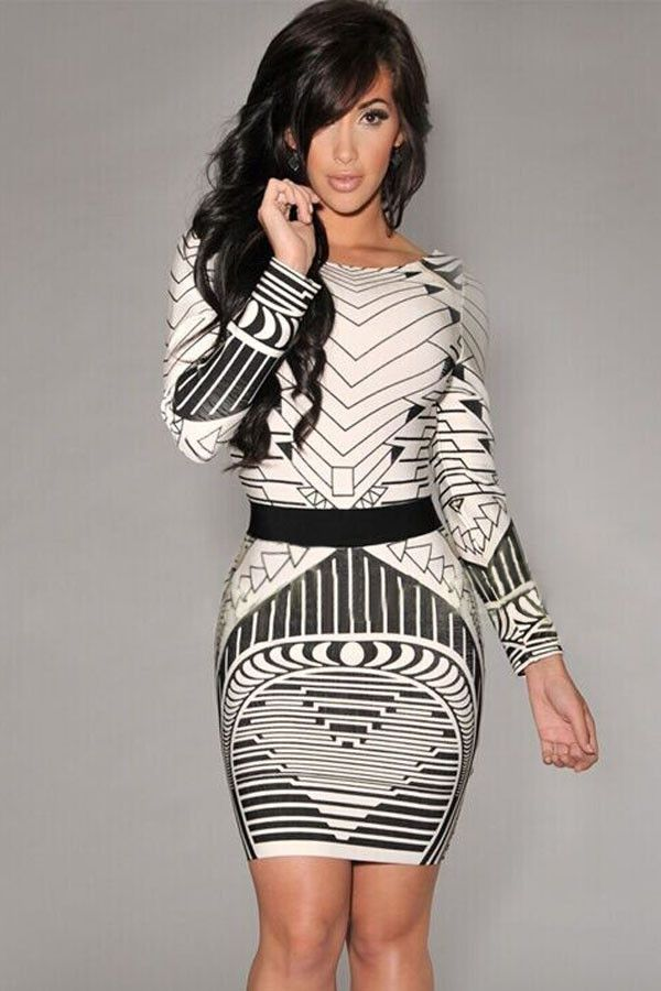 Prix: €12.99 Vintage Robes Sexy Backless Tribal Robe Imprimee A Manches Longues Pas Cher www.modebuy.com @Modebuy #Modebuy #CommeMontre #dress #me #sexy
