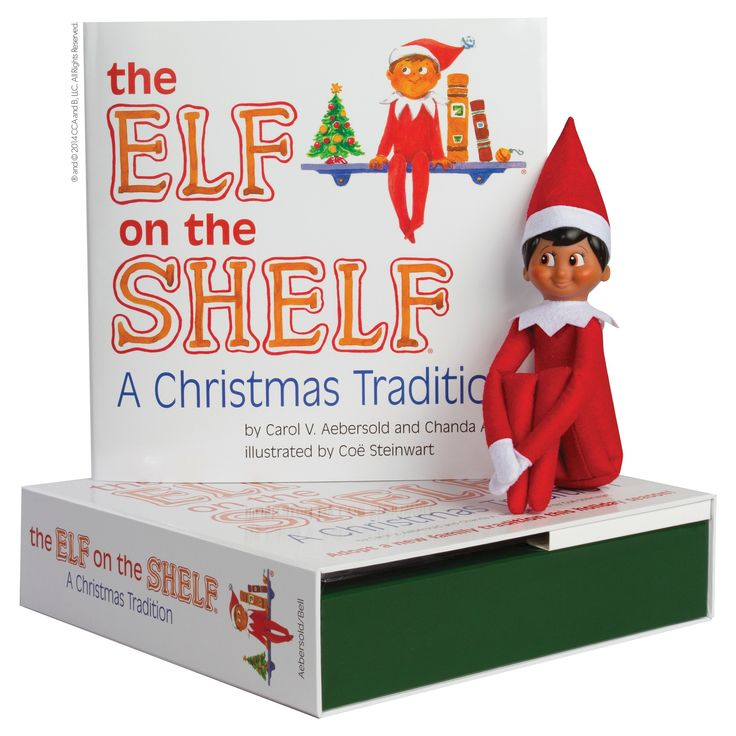 The Elf on the Shelf: A Christmas Tradition with Dark Skin Tone Boy Scout Elf, Brown Eyed