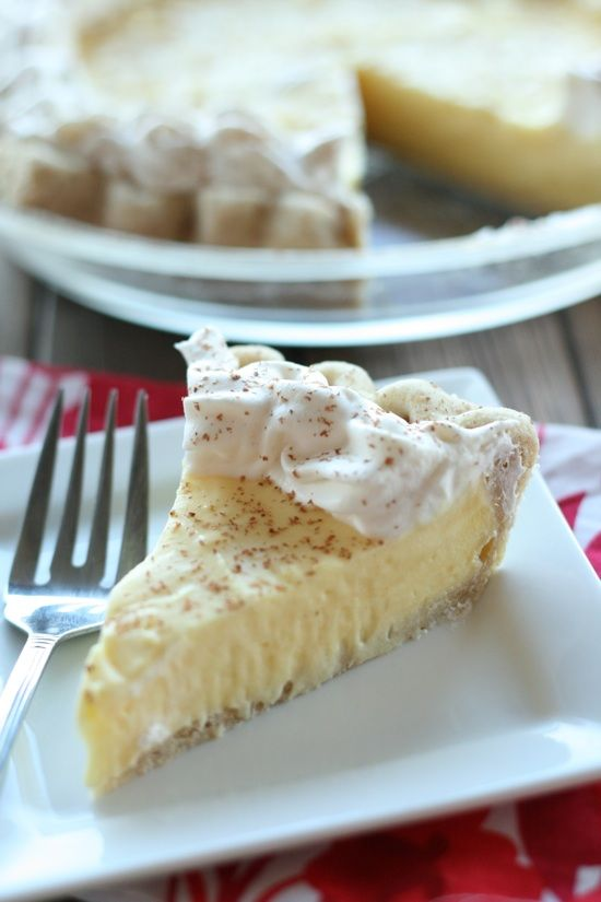 This became a last minute addition to our Christmas Dinner dessert table and it was delicious...it got made many times past Christmas Dinner until we no longer had egg nog.  I used a refrigerated crust...but still great.