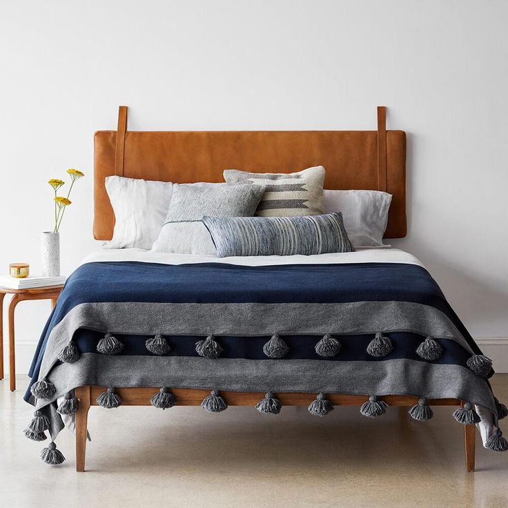 Modern Hanging Leather Headboard   Handcrafted in Portugal – The Citizenry in 2021   Leather ...