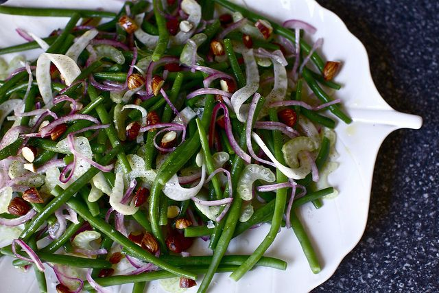 Green bean salad with fennel, celery, pickled red onion, and salty roasted almonds. Very easy and perfect for that friends' weekend cookout. From Smitten Kitchen - have you ever found a bad recipe there?
