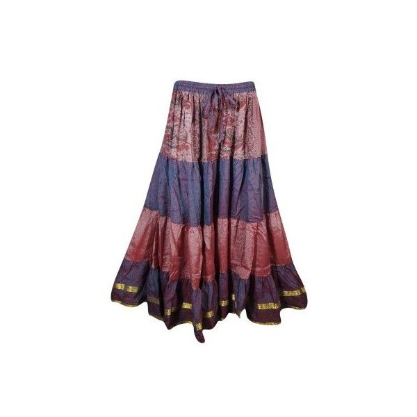 Mogul Womens Purple Peach Vintage Skirt Tiered Full Flare Boho Chic... ❤ liked on Polyvore featuring skirts, long bohemian skirt, bohemian maxi skirt, red maxi skirt, bohemian maxi skirts and long maxi skirts