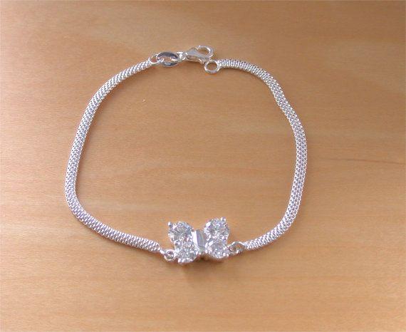 925 Silver Cz Butterfly Bracelet/Silver by joannasjewellerycouk