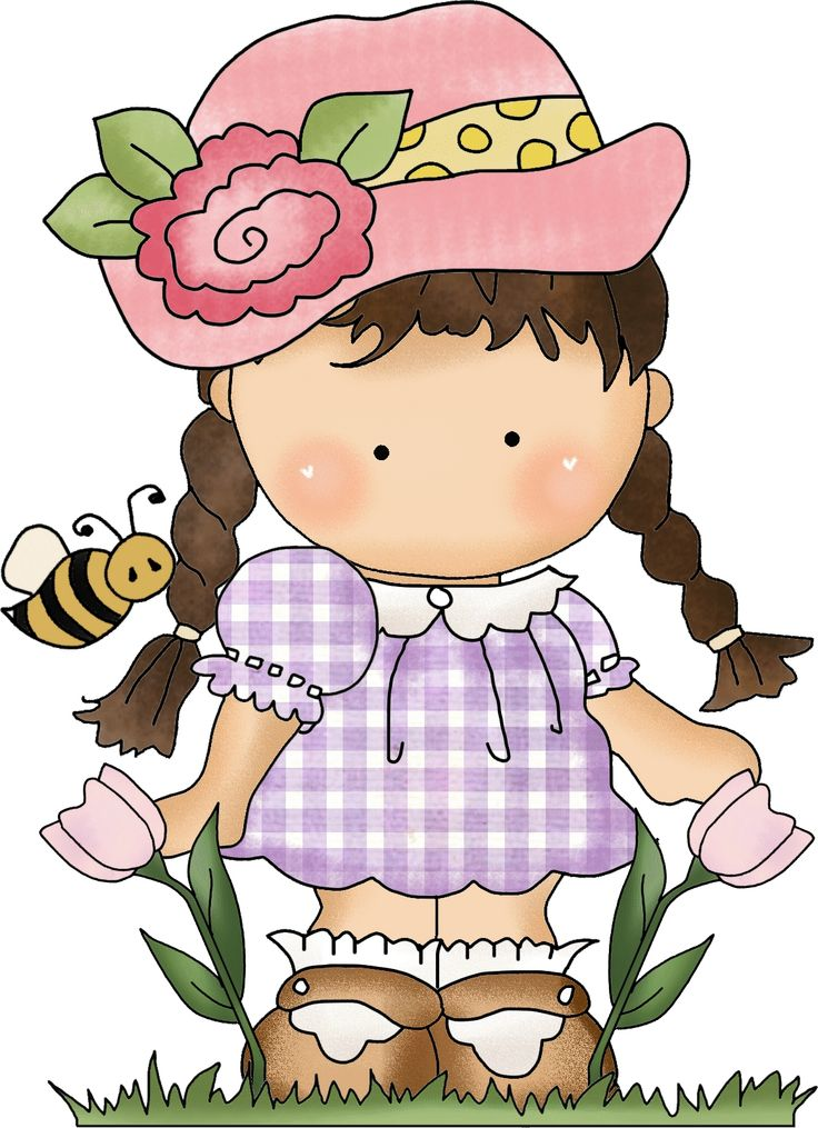 Dibujos. Clipart. Digi stamps - Flower Girl