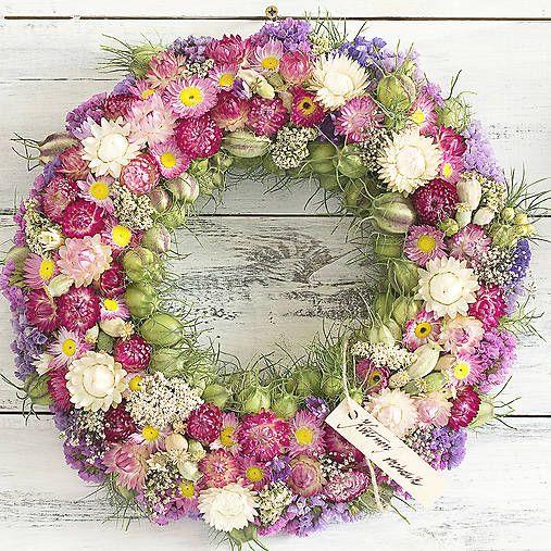 Wreath, dried flowers, pink&purple