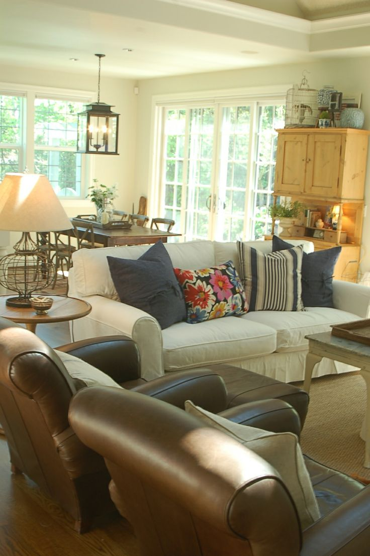 Bernhardt van gogh 2 piece leather sectional ebay - Forever Cottage Blog Leather And White Slips With Blue Love It