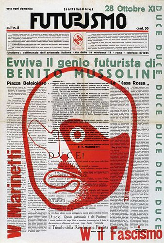 Prampolini designed the newspaper Futurisimo, edited by Marinetti and Somenzi 1933. Futurism graphics idealized Mussolini in many of their publications.