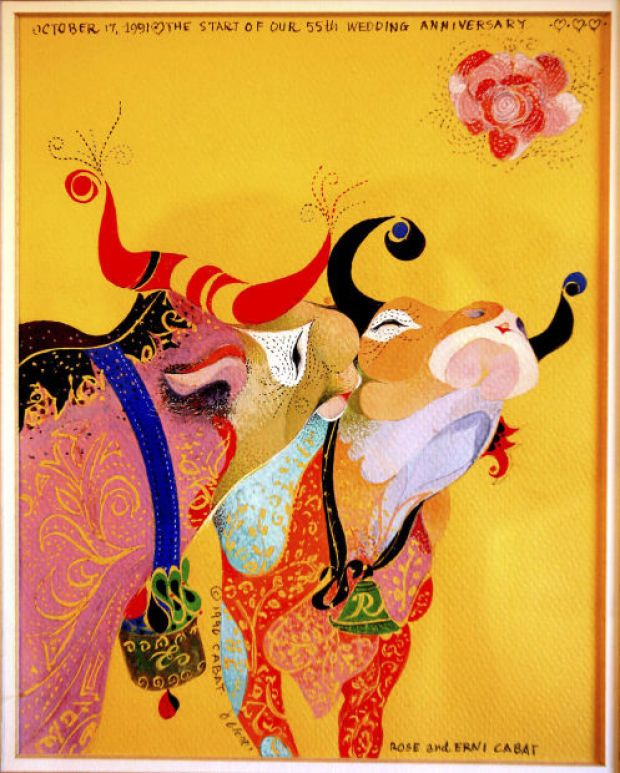 This painting of two snuggling oxen was one of Erni Cabat's anniversary presents to his wife, Rose Cabat.