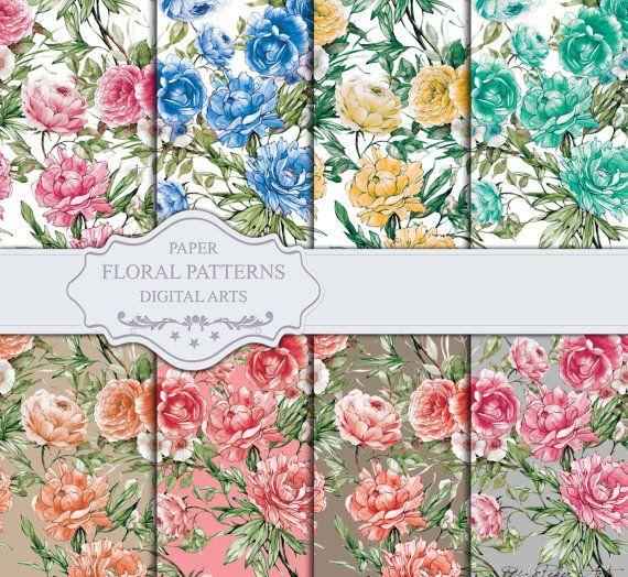 Seamless Floral Patterns  Digital Paper 8 Digital by rizapekerart#digital #papers #print #pattern #fashion #design #floral #wallpaper #seamless