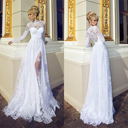 Charming high collar lace wedding dresses 2015 sheath for High collared wedding dress