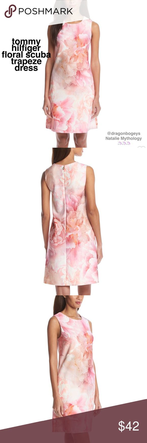 "Tommy Hilfiger Floral Scuba Trapeze Dress Brand new with tags sleeveless scuba printed pink floral dress with a crew neckline. Side pockets. Back zipper with hook and eye closure, zipper pull is gold Tommy Hilfiger circular logo. Fully lined. Outer fabric is 95% polyester and 5% spandex. Lining is 100% polyester. Length is 38.5"", bust is 20"" laid flat, waist is 19.5"" laid flat. Material does provide some stretch. Never worn, tried on once. Brand new with tags. Tommy Hilfiger Dresses"