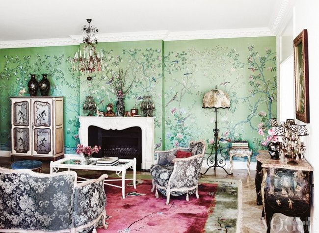 In the home of fashion designer Melanie Greensmith and rockstar Mark  McEntee   green handpainted De Gournay wallpaper  Chinese rug  jacquard  settee and  83 best Decorating with colour images on Pinterest   Vogue living  . Home Fashion Design. Home Design Ideas