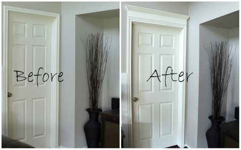 Dress up a plain door by adding molding above it- I already have some dressed up doors, but I am doing this the the rest of them.