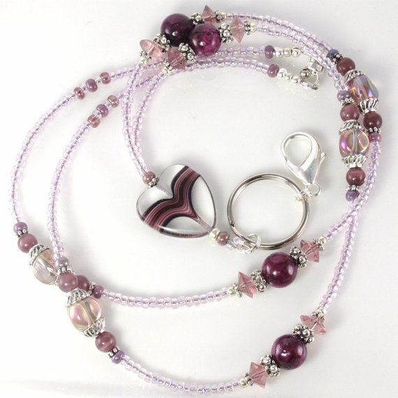 Beaded Lanyard LOYAL HEART Glass Beaded Lanyard ID by curlynetto, $21.99