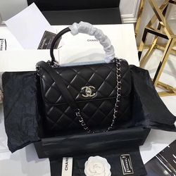 Chanel Lambskin Small Flap Bag with Top Handle Black A92236   Chanel ... d83008e22f