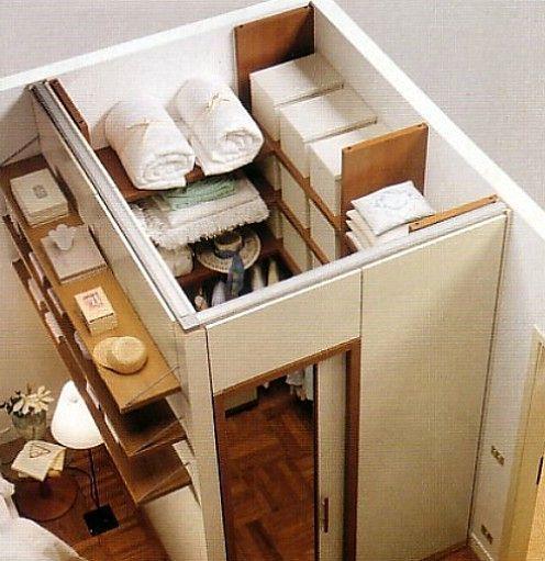 закрытый угловой дизайн гардеробной в комнате