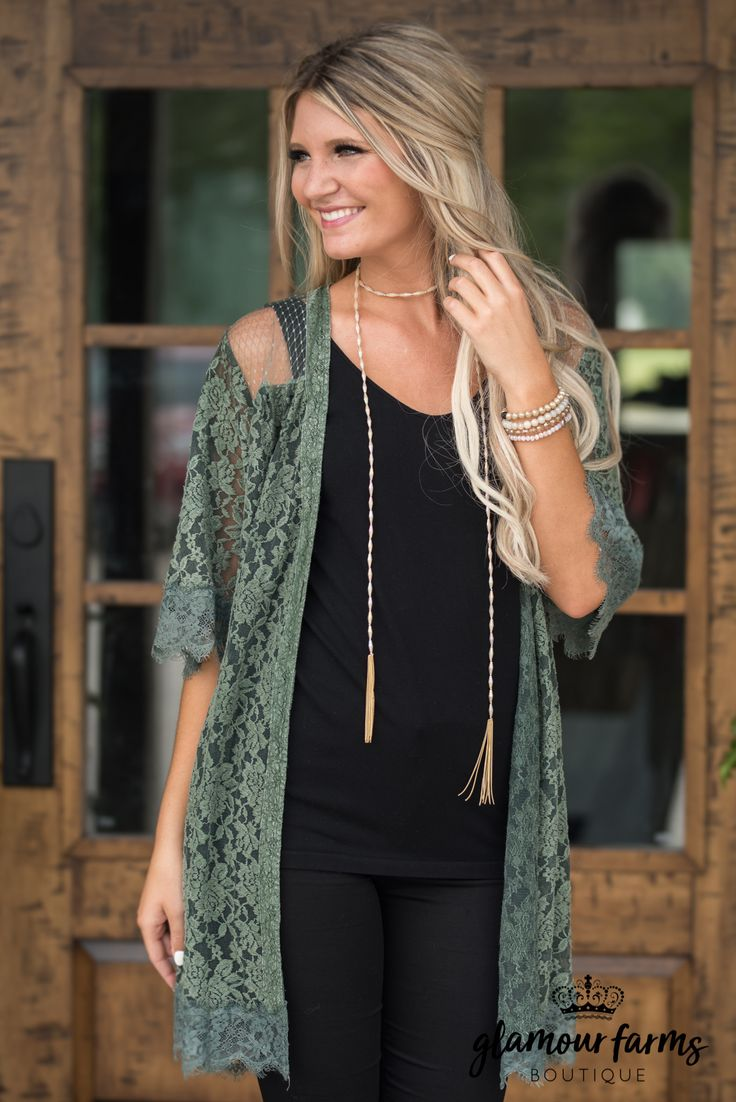 Long lace cardigan - What A Beautiful Day Lace Cardigan Olive