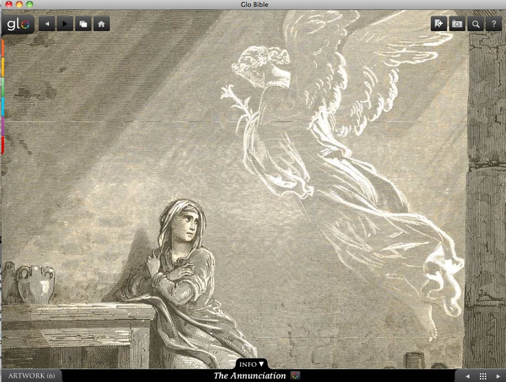 Annunciation. Glo is a free interactive socially-enabled app that brings the scripture to life through video, photos, maps, virtual tours, reading plans and more! Download it for FREE, www.GloBible.com