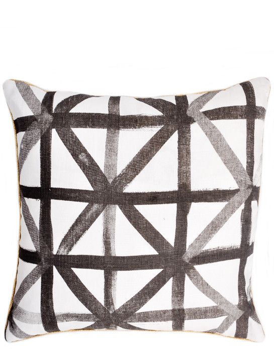 Lattice Check Cushion – LOVE the gold piping! #pillow #decor #pattern
