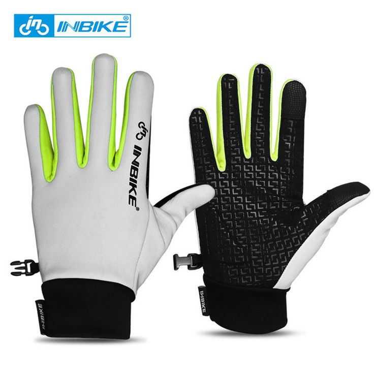 INBIKE Reflective Cycling Gloves Full Finger Bike Gloves Touch Screen Fingertip Anti-slip Gel Palm Men Women Cycling Accessories