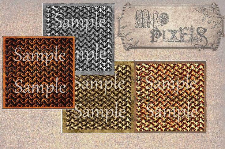 Textured backgrounds chain connected rings images, interesting metal base for digital art, color burned in brass, copper, silver gray, or dreary and dark rust. #MetalTextures #CollageElements #DigitalDownloads #ChainLinks #4InchSquares