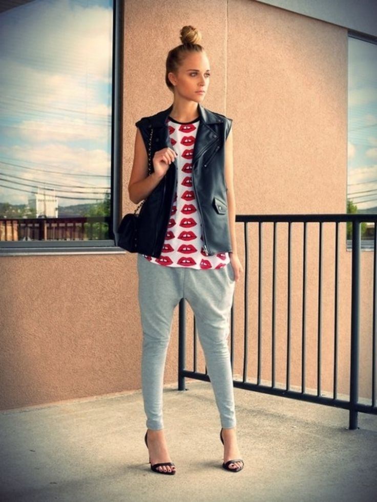 7. With a #Graphic Tee - 7 Street #Style Ways to Rock the Jogger Pants Trend ... → #Streetstyle [ more at http://streetstyle.allwomenstalk.com ]  #Trend #Rock #Leather #Jogger #Silk