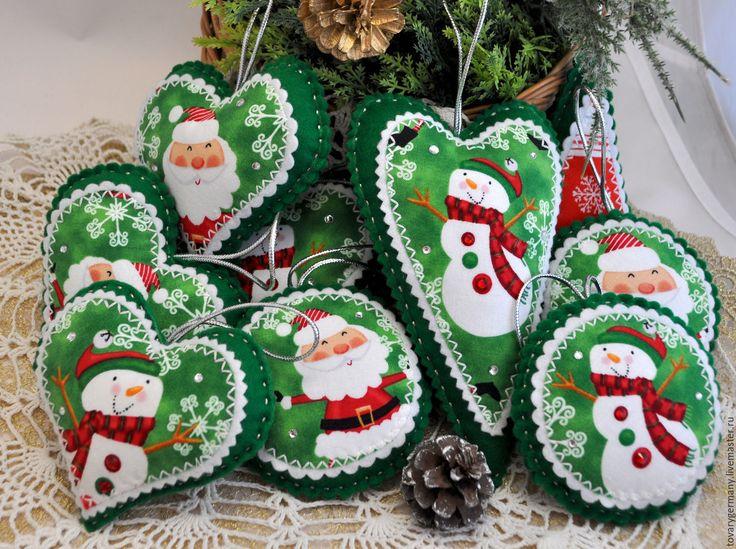 """Купить Елочные игрушки из фетра """"Дед Мороз и снеговик"""" - елочные игрушки, елочные игрушки из фетра"""