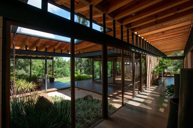 Forest house brings indoors out through glass walls terraces