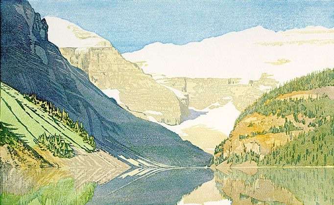 Lake Louise, Alberta 1940 Watercolor woodcut on paper, edition 100