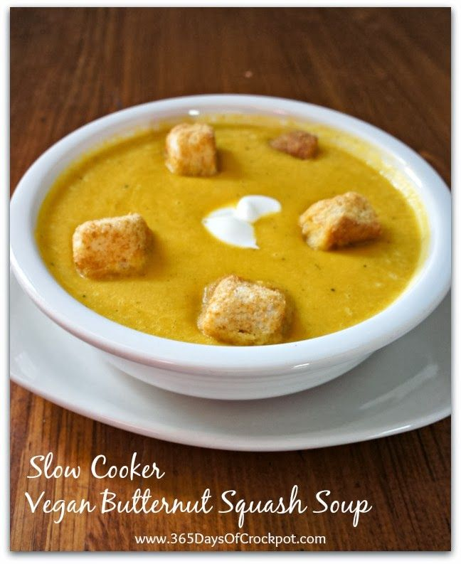 Vegan slow cooker butternut squash soup recipe vegan for Healthy slow cooker soup recipes uk