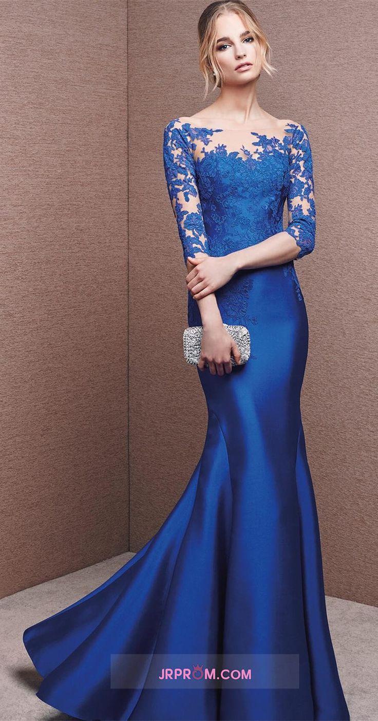 Bateau Dark Royal Blue Mother Of The Bride Dresses 3/4 Length Sleeve With Applique Satin Item Code:#JRPEGK9RLL