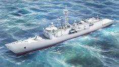 Oliver Hazard Perry-class Polish frigate. stock photo
