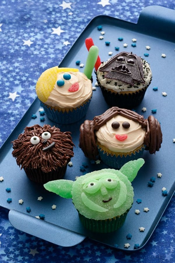 May the Force (or the 4th!) be with you! Leia, Chewbacca, Yoda and the gang will be a hit at a Star Wars-themed birthday celebration, movie party or May 4th shindig. To save some time, make the cupcakes in advance and decorate the day of your party. Place some parchment paper on the counter to make cleanup a breeze.