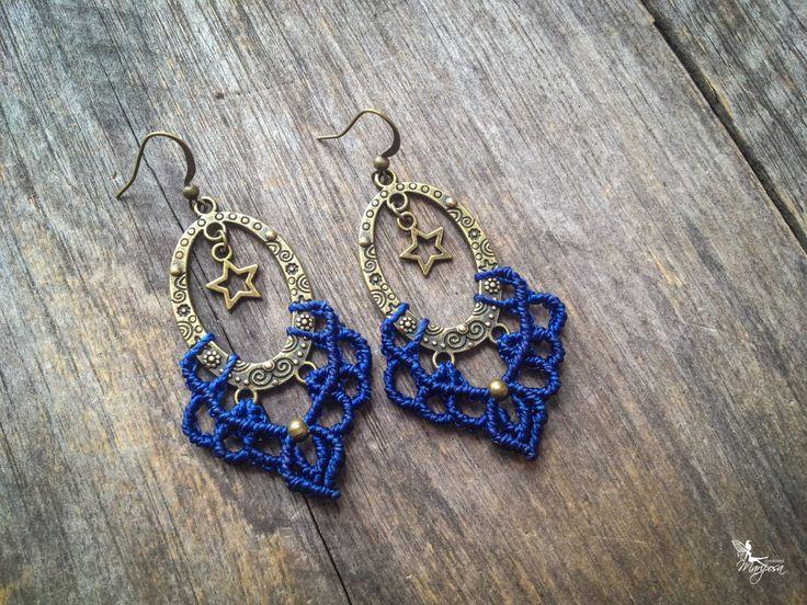 Macrame star earrings bohemian chic jewelry by Mariposa - Blue - boho gypsy micro macramé micro-macrame de la boutique creationsmariposa sur Etsy
