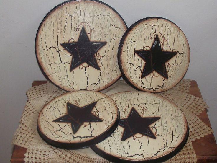 Primitive~Crackle~Country Decor Stove Top Burner Covers -Black Star/Berry Vine
