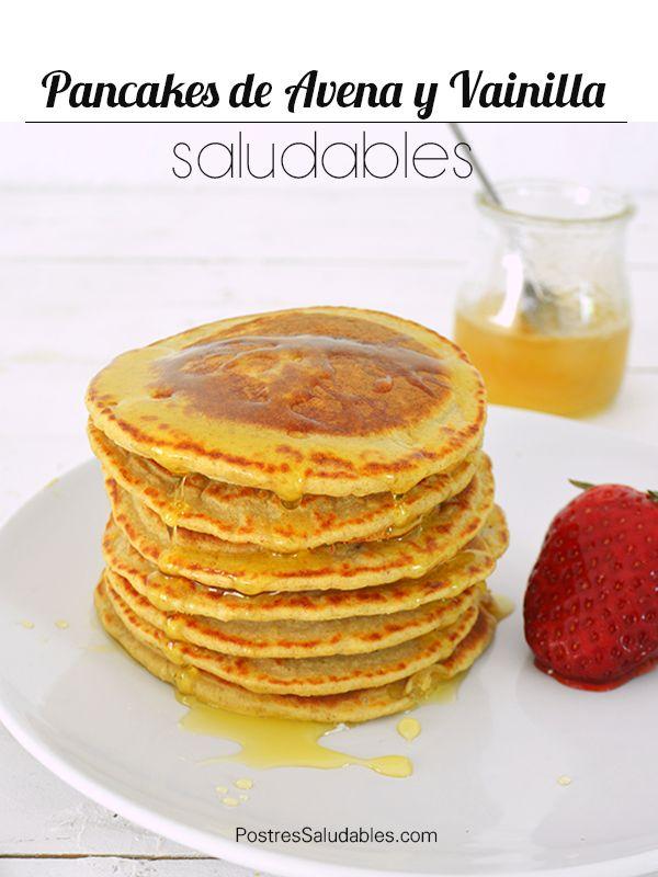 Postres Saludables | Pancakes de avena y vainilla saludables | http://www.postressaludables.com
