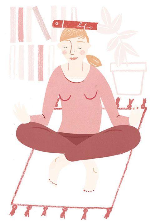 Yoga illustration by Clare Owen. Represented by i2i Art Inc., illustration agency #i2iart