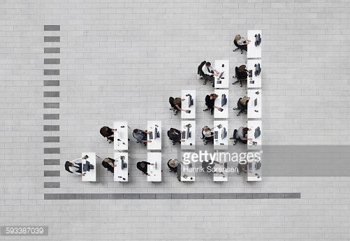 Stock Photo : bar graph business in birdsview