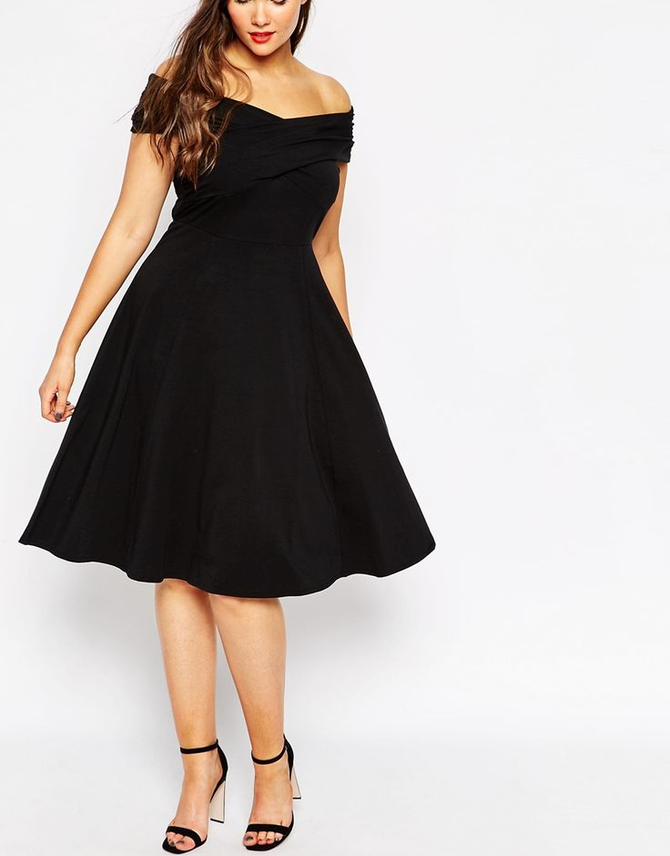 Image 3 of ASOS CURVE Midi Skater Dress With Bardot Cross Front