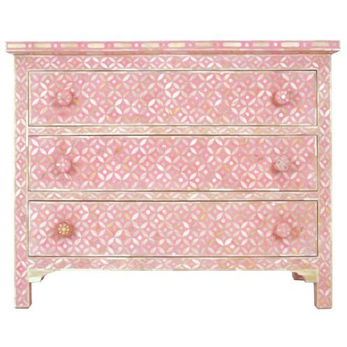 Pink Bone Geometric Chest of Drawers