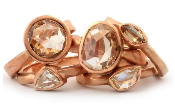 Natural free form diamonds mounted in rose gold rings by GALACIA DESIGNER JEWELLERY.