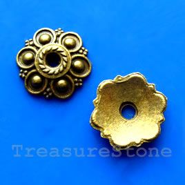 Bead cap, antiqued brass finished, 13mm. #TreasureStone Beads Edmonton. www.TreasureStoneBeads.com