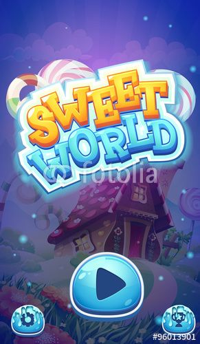 Вектор: Sweet world mobile GUI boot loading screen for video web games