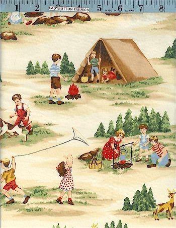 vintage camping fabric   Moda Happy Campers Retro Camping Vintage Fabric Natural   eBay