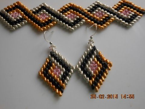 DIY-Tutorial- Ro- Cercei zigzag in 4 culori cu twinbeads - Seed Bead Tjtorials