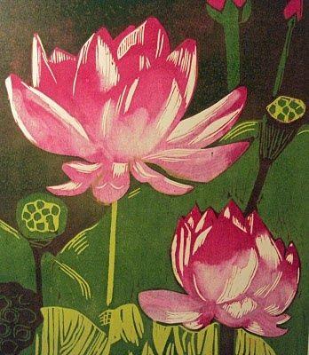 lotus print | Lotus wood block print | paint