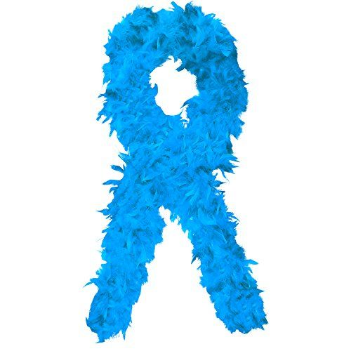 Deluxe Federboa ca. 200 cm - ca.100 gr. (extrem schwer) - Feder Boa f�r 20er Jahre Party Karneval Fasching - hellblau / light blue